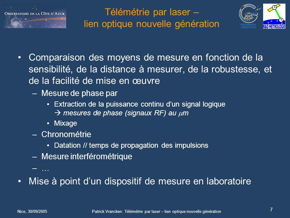Nice, 30/09/2005Patrick Vrancken: Télémétrie par laser – lien optique nouvelle génération 7 Télémétrie par laser – lien optique nouvelle génération Comparaison des moyens de mesure en fonction de la sensibilité, de la distance à mesurer, de la robustesse, et de la facilité de mise en œuvre –Mesure de phase par Extraction de la puissance continu dun signal logique mesures de phase (signaux RF) au m Mixage –Chronométrie Datation // temps de propagation des impulsions –Mesure interférométrique –…–… Mise à point dun dispositif de mesure en laboratoire
