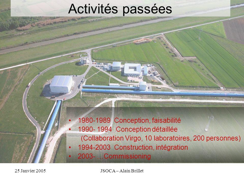 25 Janvier 2005JSOCA – Alain Brillet Activités passées 1980-1989 Conception, faisabilité 1990- 1994 Conception détaillée (Collaboration Virgo, 10 labo
