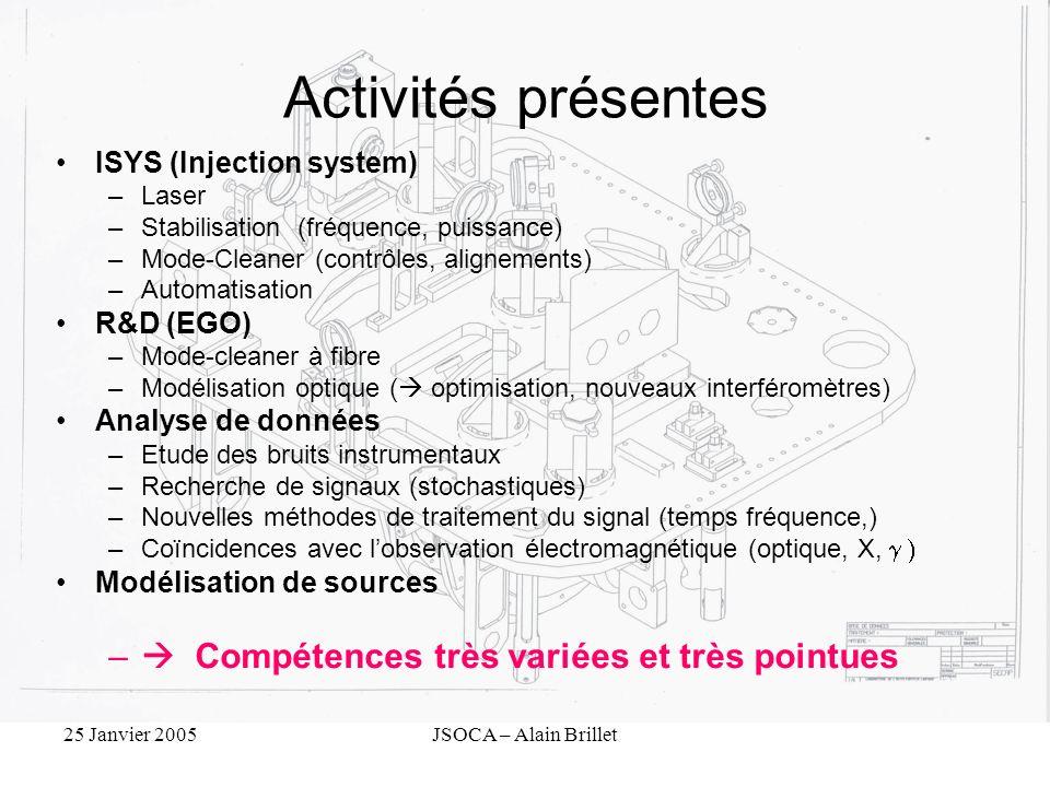 25 Janvier 2005JSOCA – Alain Brillet Activités présentes ISYS (Injection system) –Laser –Stabilisation (fréquence, puissance) –Mode-Cleaner (contrôles