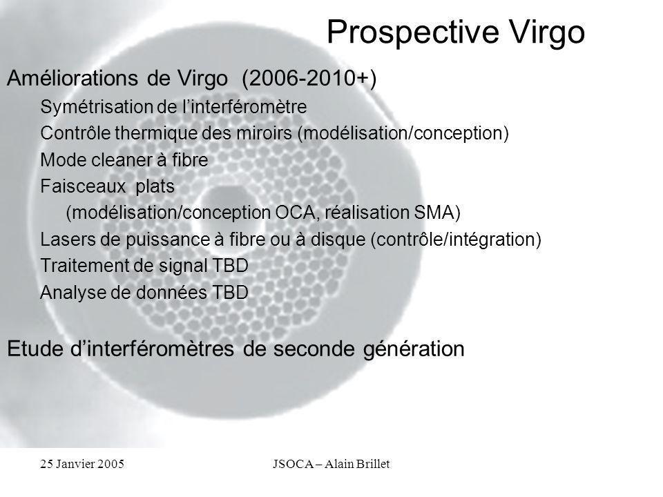 25 Janvier 2005JSOCA – Alain Brillet Prospective Virgo Améliorations de Virgo (2006-2010+) Symétrisation de linterféromètre Contrôle thermique des mir