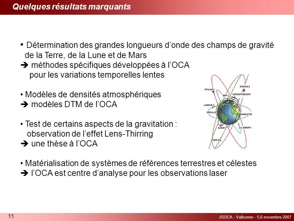 JSOCA - Valbonne - 5,6 novembre 2007 11 Quelques résultats marquants Détermination des grandes longueurs donde des champs de gravité de la Terre, de l