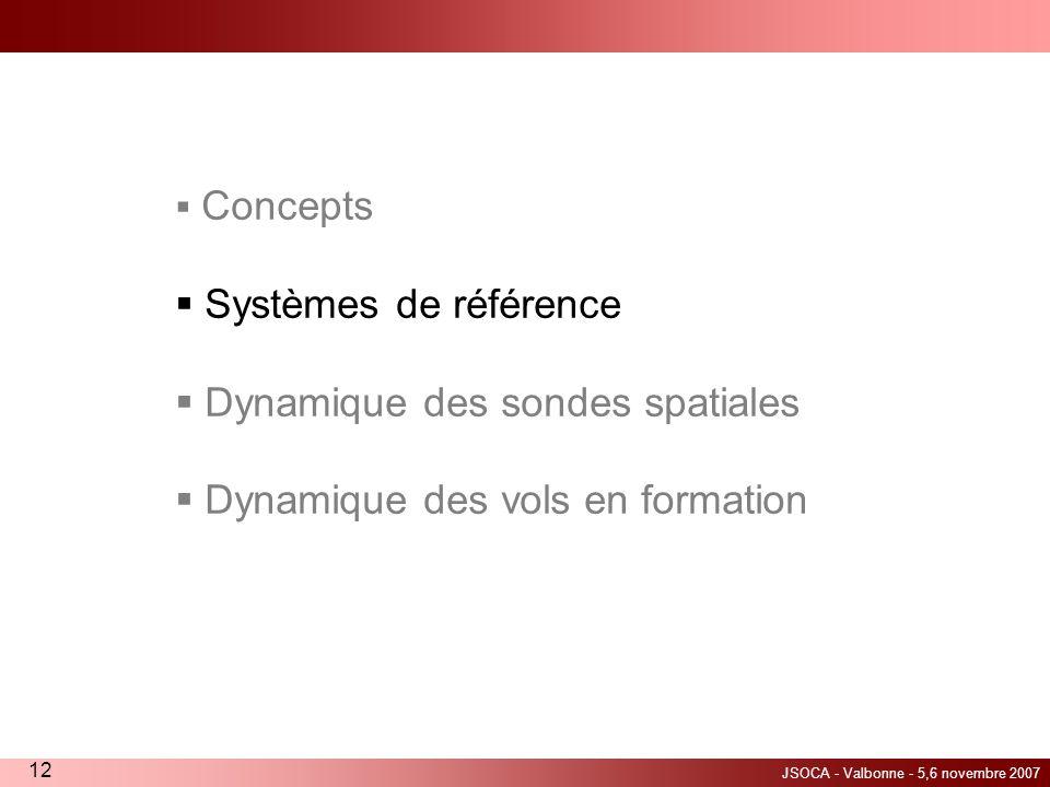 JSOCA - Valbonne - 5,6 novembre 2007 12 Concepts Systèmes de référence Dynamique des sondes spatiales Dynamique des vols en formation