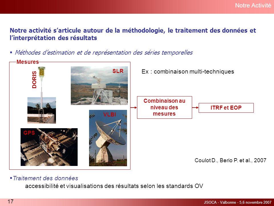 JSOCA - Valbonne - 5,6 novembre 2007 17 Traitement des données accessibilité et visualisations des résultats selon les standards OV Notre Activité Not