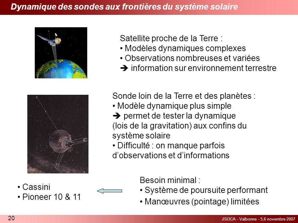 JSOCA - Valbonne - 5,6 novembre 2007 20 Dynamique des sondes aux frontières du système solaire Satellite proche de la Terre : Modèles dynamiques compl