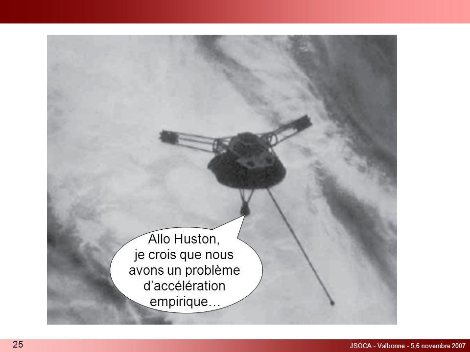 JSOCA - Valbonne - 5,6 novembre 2007 25 Allo Huston, je crois que nous avons un problème daccélération empirique…
