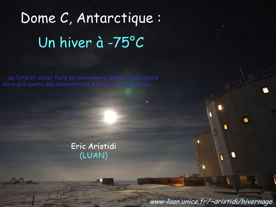 Dans le futur proche (DC 5) : A-STEP Antarctica Search for Transiting Extrasolar Planets (PI Tristan Guillot) Suivre la photométrie dun grand champ détoiles pendant très longtemps pour détecter des transits Télescope de 50 cm de diamètre