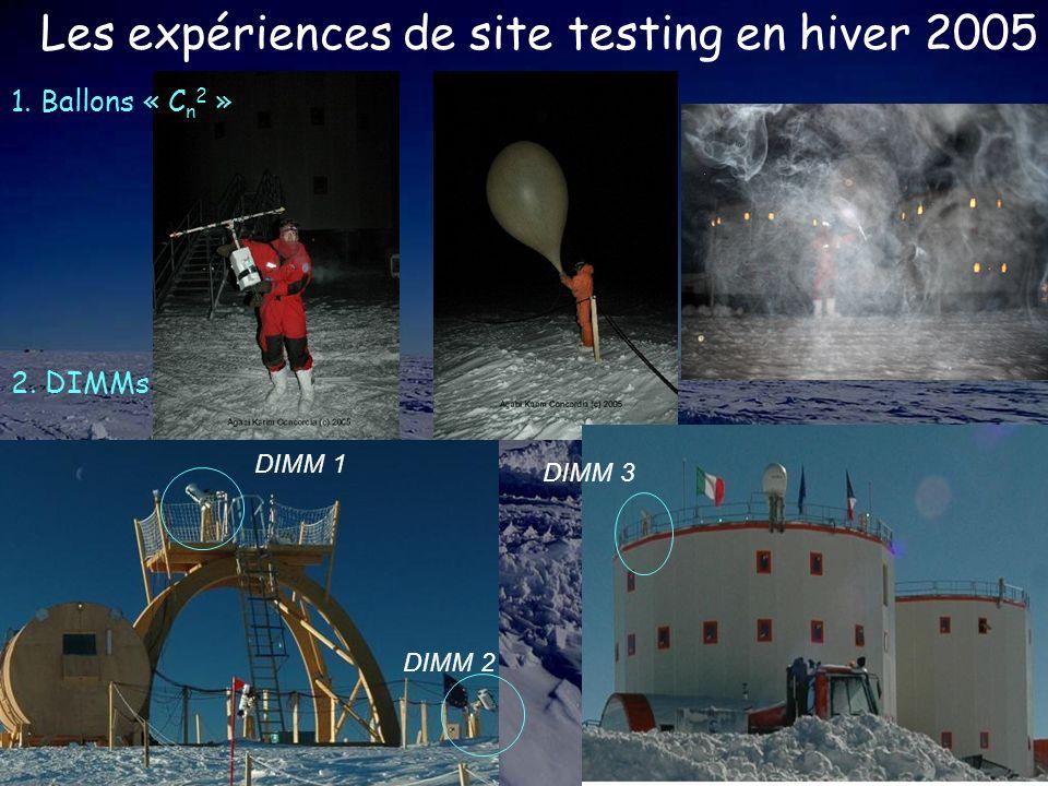 Les expériences de site testing en hiver 2005 1. Ballons « C n 2 » DIMM 2 DIMM 1 DIMM 3 2. DIMMs