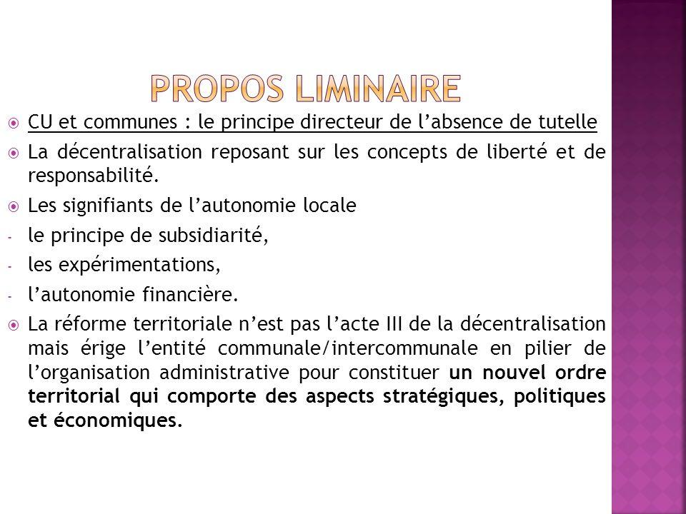 CU et communes : le principe directeur de labsence de tutelle La décentralisation reposant sur les concepts de liberté et de responsabilité.