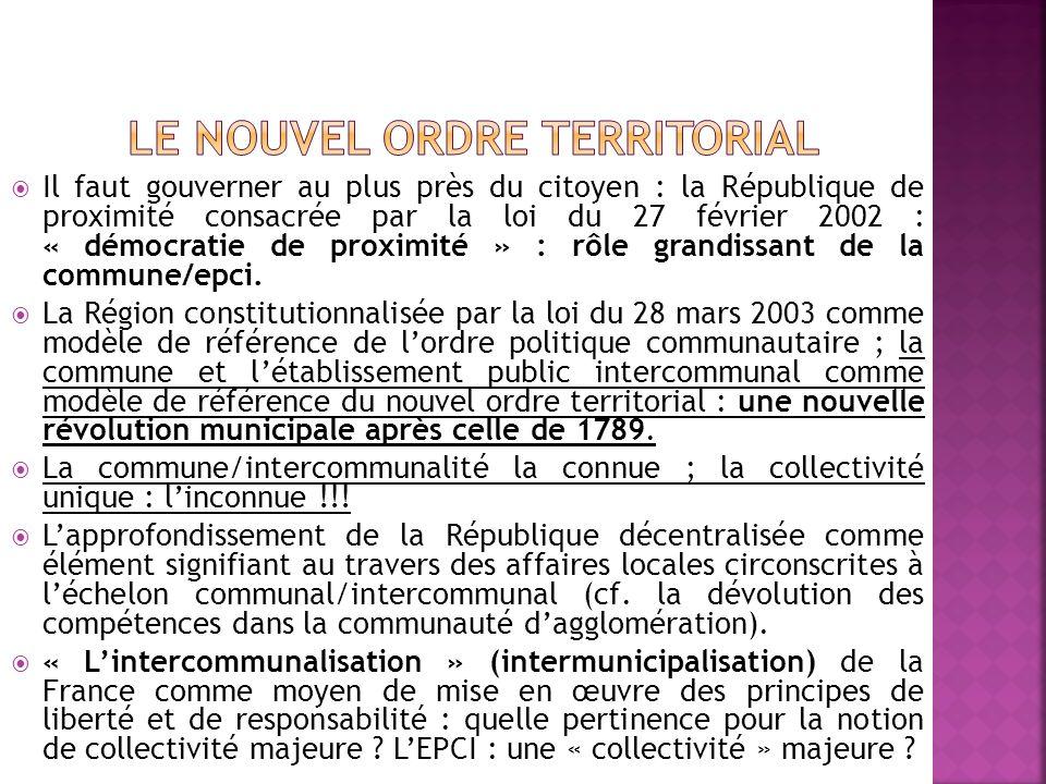 Il faut gouverner au plus près du citoyen : la République de proximité consacrée par la loi du 27 février 2002 : « démocratie de proximité » : rôle grandissant de la commune/epci.