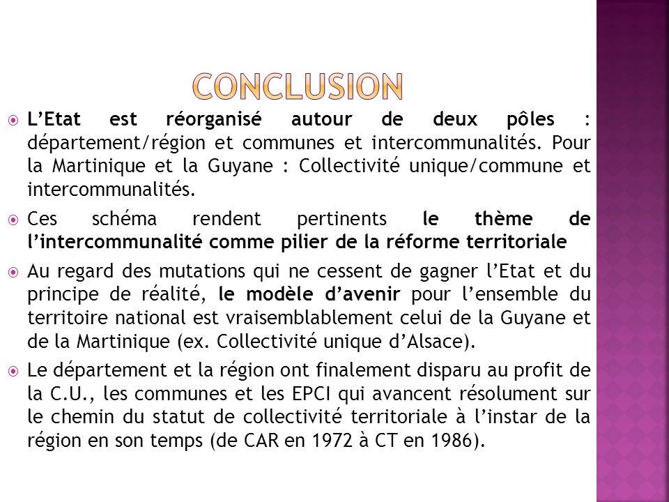 LEtat est réorganisé autour de deux pôles : département/région et communes et intercommunalités. Pour la Martinique et la Guyane : Collectivité unique