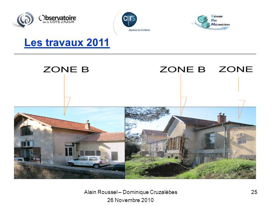 Alain Roussel – Dominique Cruzalèbes 26 Novembre 2010 25 Les travaux 2011