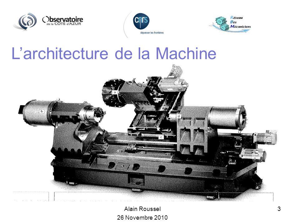Alain Roussel 26 Novembre 2010 3 Larchitecture de la Machine