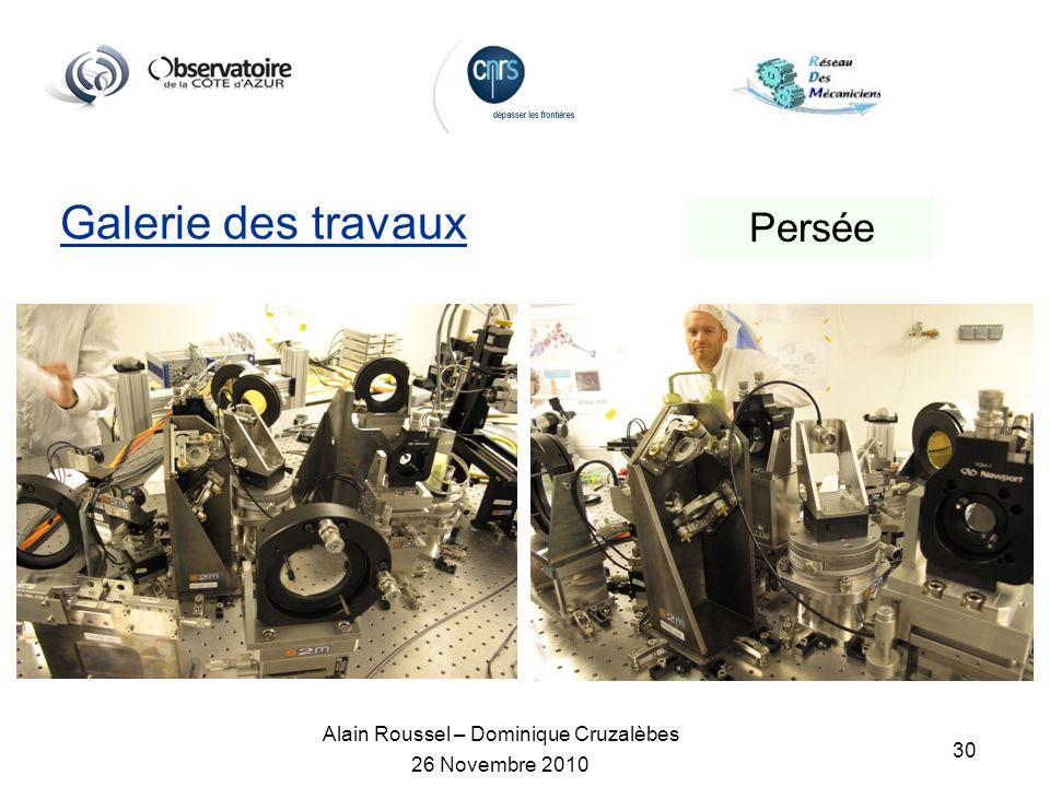 Alain Roussel – Dominique Cruzalèbes 26 Novembre 2010 30 Galerie des travaux Persée