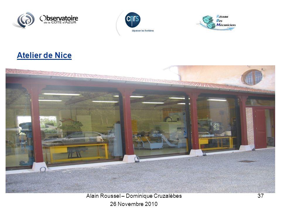 Alain Roussel – Dominique Cruzalèbes 26 Novembre 2010 37 Atelier de Nice