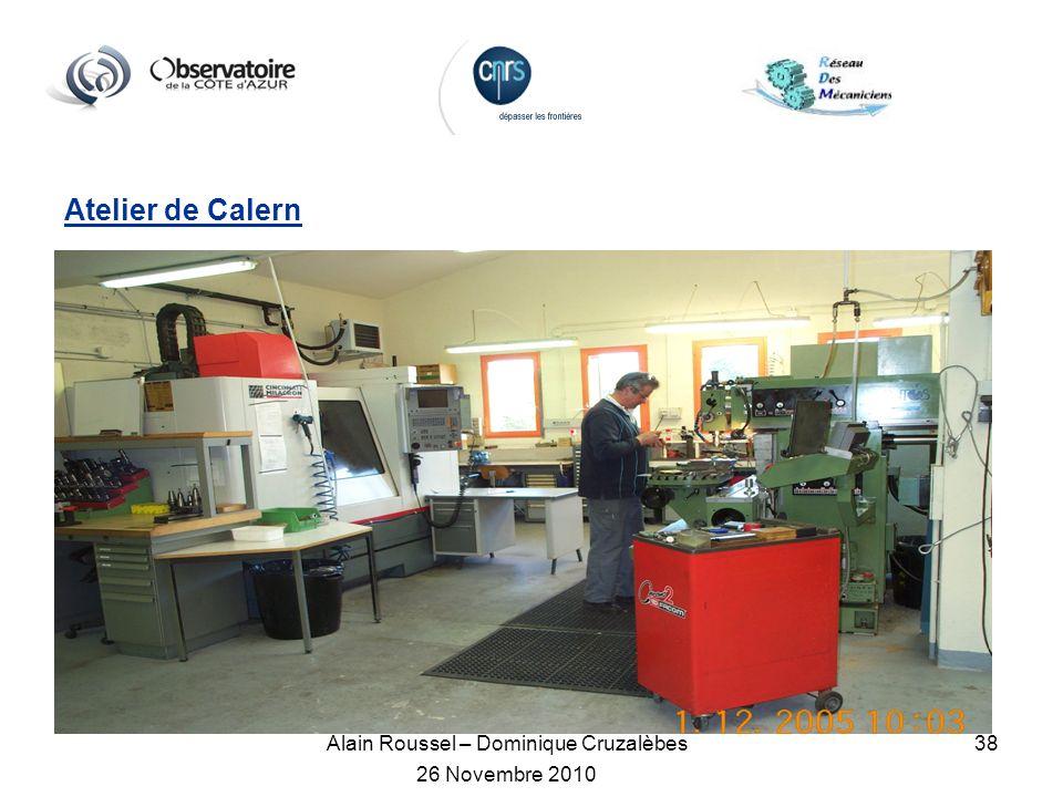 Alain Roussel – Dominique Cruzalèbes 26 Novembre 2010 38 Atelier de Calern