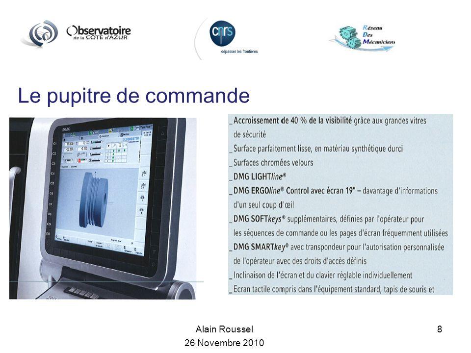 Alain Roussel 26 Novembre 2010 8 Le pupitre de commande