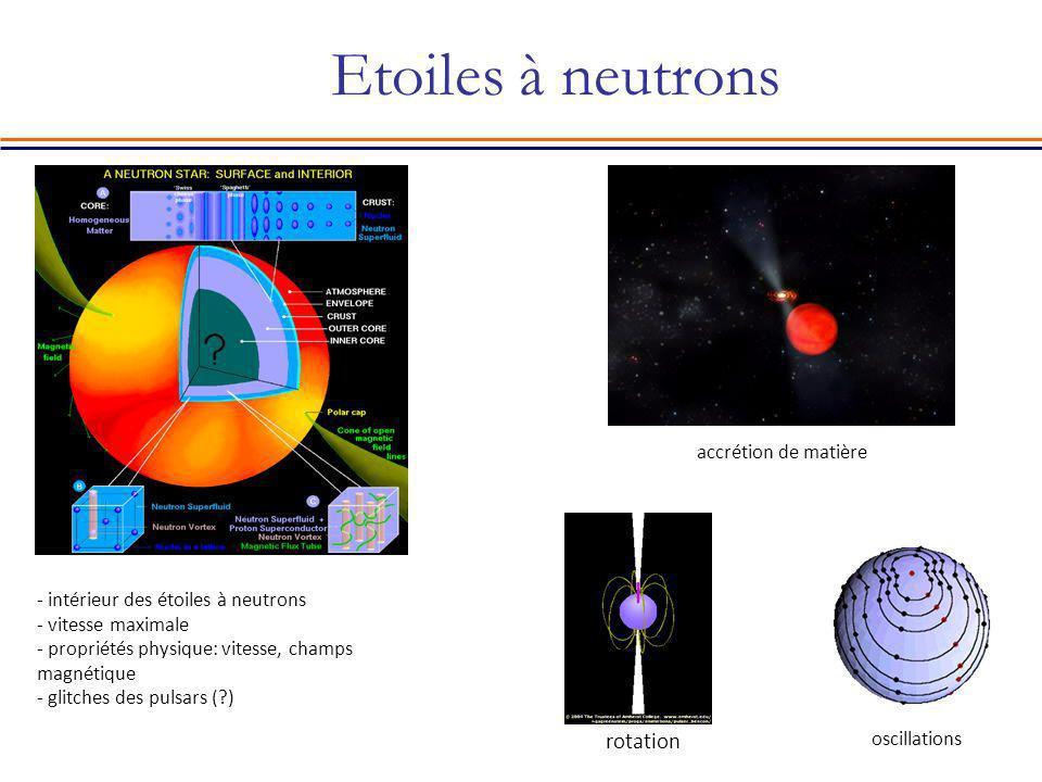 Etoiles à neutrons rotation - intérieur des étoiles à neutrons - vitesse maximale - propriétés physique: vitesse, champs magnétique - glitches des pul