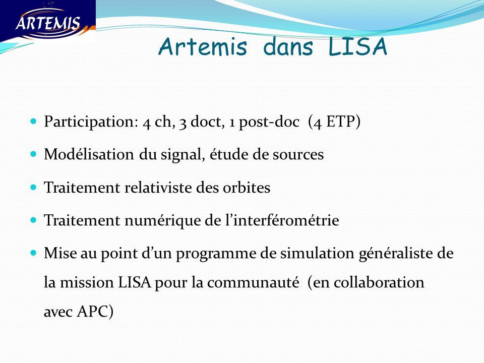 Artemis dans LISA Participation: 4 ch, 3 doct, 1 post-doc (4 ETP) Modélisation du signal, étude de sources Traitement relativiste des orbites Traiteme