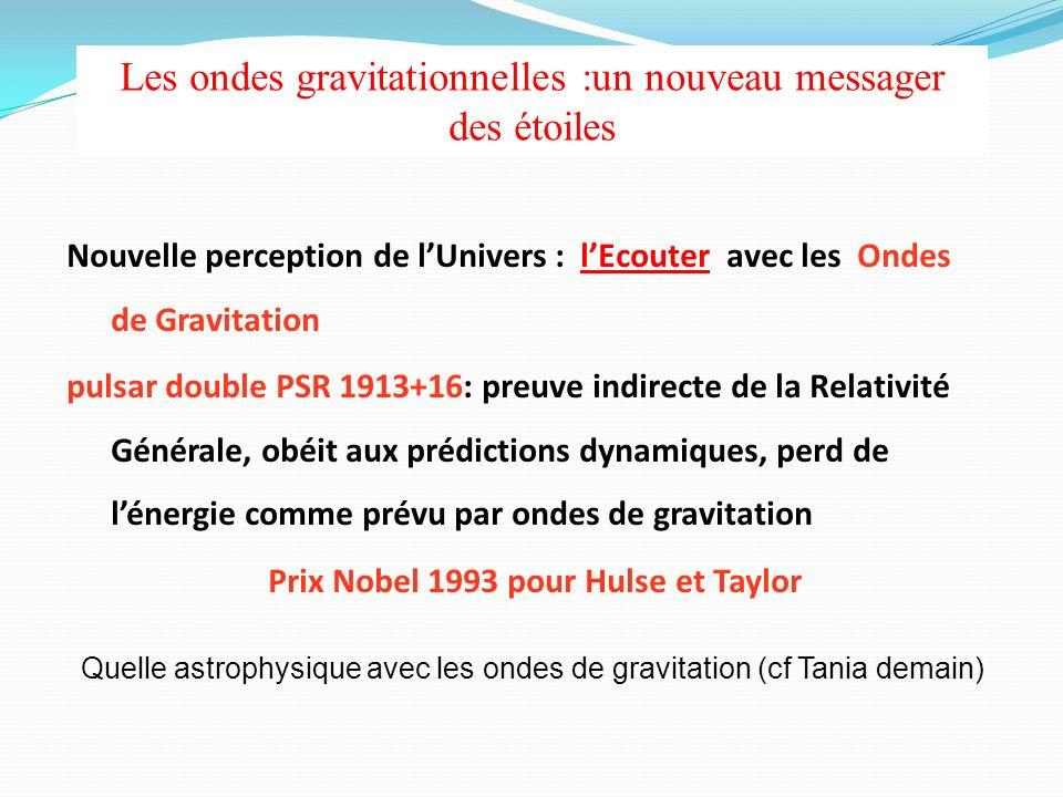 Nouvelle perception de lUnivers : lEcouter avec les Ondes de Gravitation pulsar double PSR 1913+16: preuve indirecte de la Relativité Générale, obéit