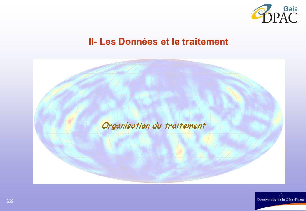 28 II- Les Données et le traitement Organisation du traitement