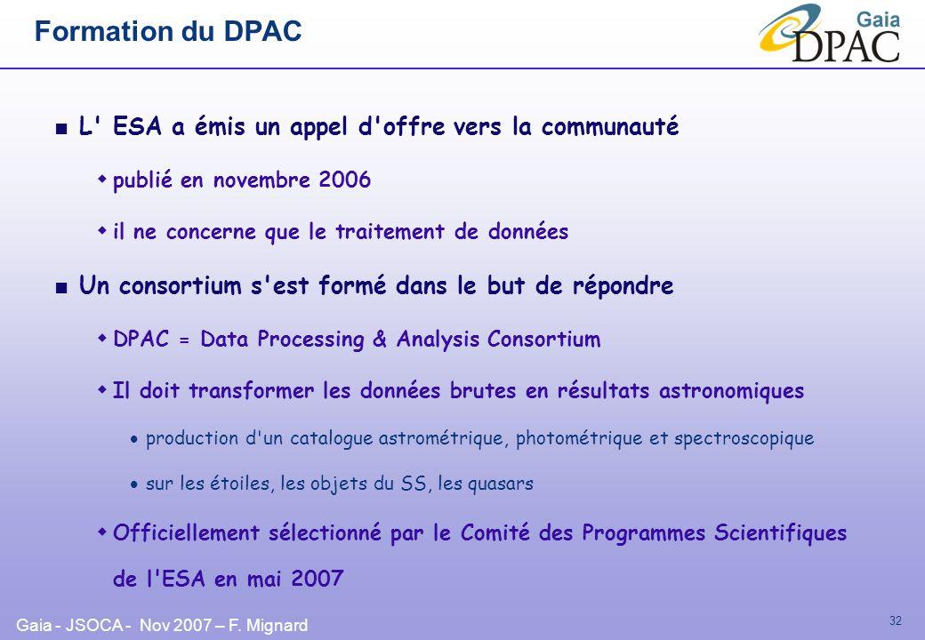 Gaia - JSOCA - Nov 2007 – F. Mignard 32 Formation du DPAC L' ESA a émis un appel d'offre vers la communauté publié en novembre 2006 il ne concerne que