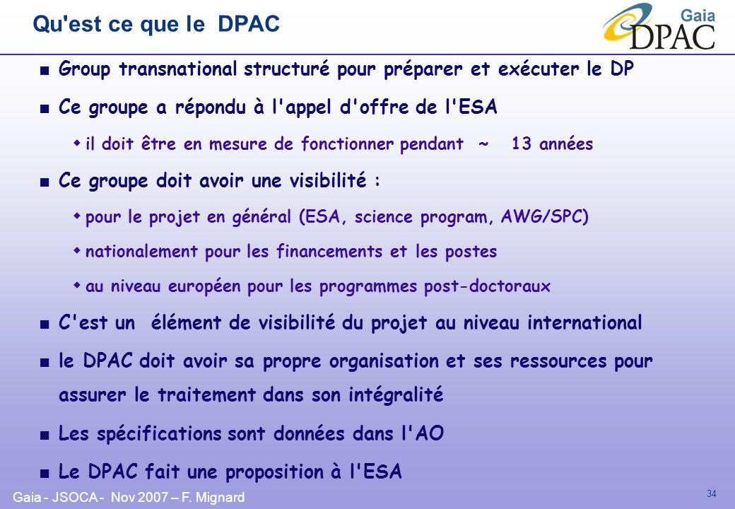 Gaia - JSOCA - Nov 2007 – F. Mignard 34 Qu'est ce que le DPAC Group transnational structuré pour préparer et exécuter le DP Ce groupe a répondu à l'ap