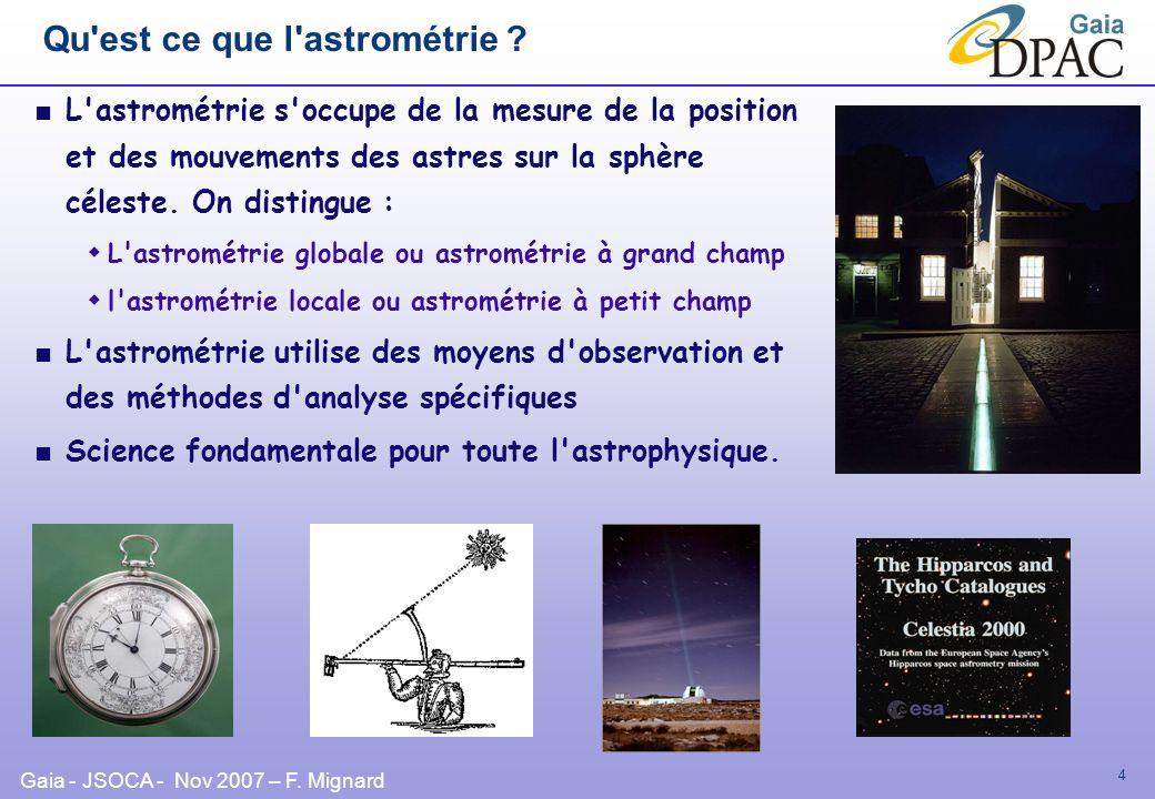 Gaia - JSOCA - Nov 2007 – F. Mignard 4 Qu'est ce que l'astrométrie ? L'astrométrie s'occupe de la mesure de la position et des mouvements des astres s