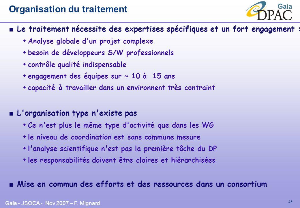 Gaia - JSOCA - Nov 2007 – F. Mignard 48 Organisation du traitement Le traitement nécessite des expertises spécifiques et un fort engagement : Analyse