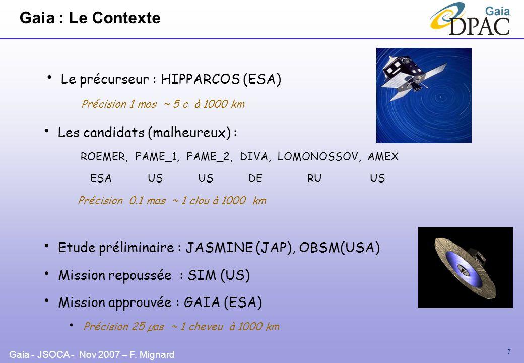 Gaia - JSOCA - Nov 2007 – F. Mignard 7 Gaia : Le Contexte Les candidats (malheureux) : ROEMER, FAME_1, FAME_2, DIVA, LOMONOSSOV, AMEX ESA US US DE RU