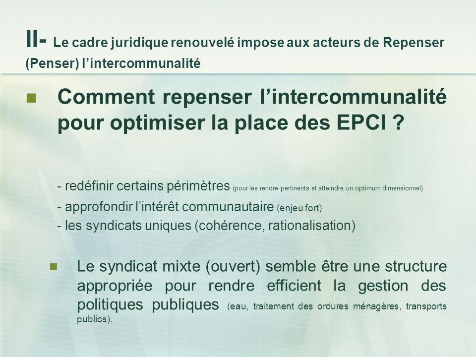 Comment repenser lintercommunalité pour optimiser la place des EPCI .