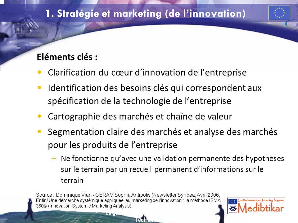 1. Stratégie et marketing (de linnovation) Eléments clés : Clarification du cœur dinnovation de lentreprise Identification des besoins clés qui corres