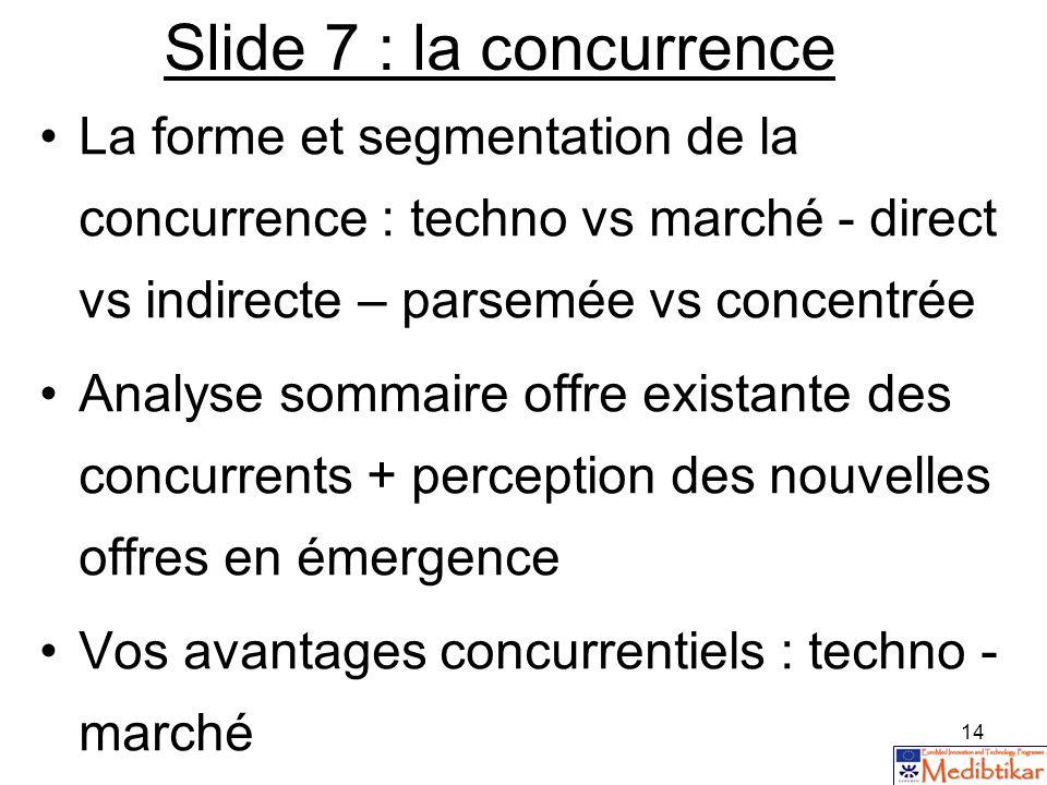 14 Slide 7 : la concurrence La forme et segmentation de la concurrence : techno vs marché - direct vs indirecte – parsemée vs concentrée Analyse somma
