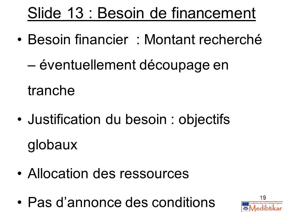 19 Slide 13 : Besoin de financement Besoin financier : Montant recherché – éventuellement découpage en tranche Justification du besoin : objectifs glo