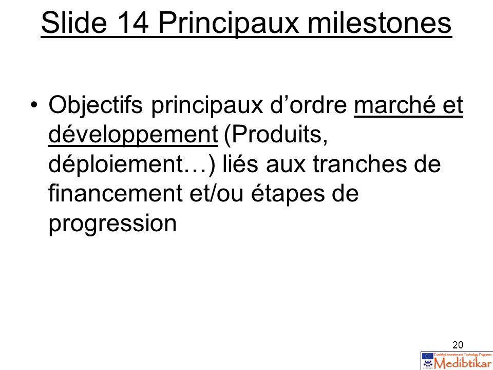20 Slide 14 Principaux milestones Objectifs principaux dordre marché et développement (Produits, déploiement…) liés aux tranches de financement et/ou