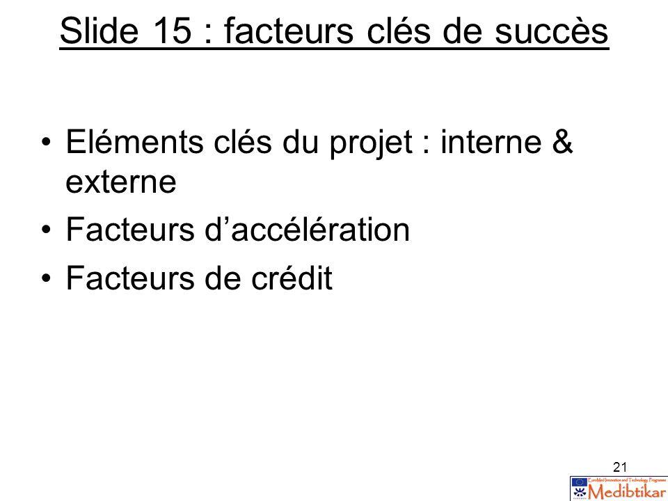 21 Slide 15 : facteurs clés de succès Eléments clés du projet : interne & externe Facteurs daccélération Facteurs de crédit
