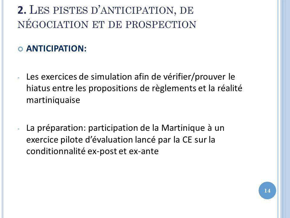 2. L ES PISTES D ANTICIPATION, DE NÉGOCIATION ET DE PROSPECTION ANTICIPATION: - Les exercices de simulation afin de vérifier/prouver le hiatus entre l