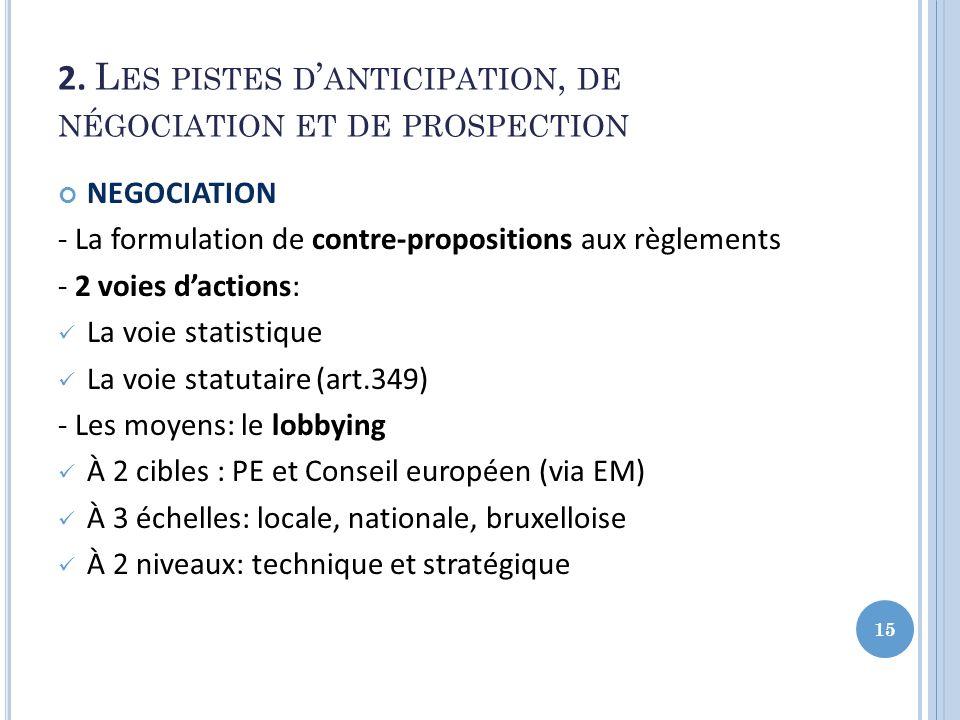 2. L ES PISTES D ANTICIPATION, DE NÉGOCIATION ET DE PROSPECTION NEGOCIATION - La formulation de contre-propositions aux règlements - 2 voies dactions: