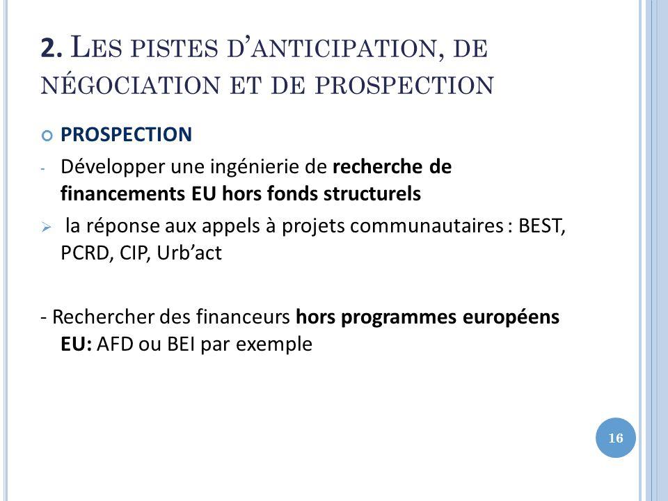 2. L ES PISTES D ANTICIPATION, DE NÉGOCIATION ET DE PROSPECTION PROSPECTION - Développer une ingénierie de recherche de financements EU hors fonds str