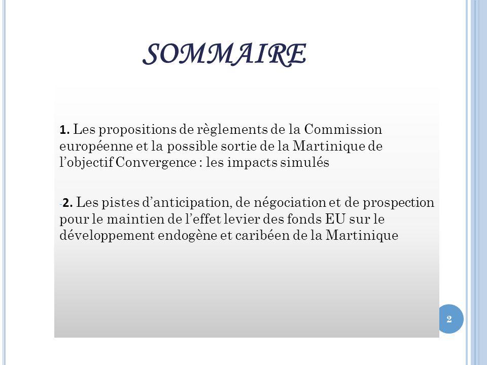 L A POSSIBLE SORTIE DE LA M ARTINIQUE DE L OBJECTIF CONVERGENCE : LES IMPACTS SIMULÉS Quels impacts des règlementaires.