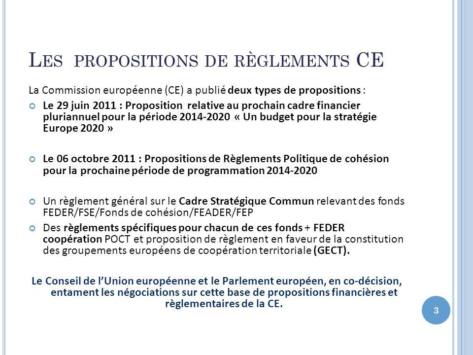 L ES PROPOSITIONS DE RÈGLEMENTS DE LA CE POUR 2014-2020 4 Cadre stratégique commun (CSC) Traduit la stratégie UE 2020 en actions clés pour les fonds relevant du CSC Contrat de partenariat (CP) Signé entre la Commission et lEM : contribution des fonds à la réalisation des objectifs de la stratégie UE 2020 Programmes Cohérents avec le CSC et le CP Trois catégories de régions Règlement général du Parlement et du Conseil + un règlement par fonds Feder, FSE, Feader, Feamp, Fonds de cohésion, Coopération territoriale européenne REGIONS LES MOINS DEVELOPPEES PIB < 75% du PIB UE 27 REGIONS EN TRANSITION Pib 75%- 90% du PIB UE 27 REGIONS LES PLUS DEVELOPPEES PIB > 90% du PIB UE 27