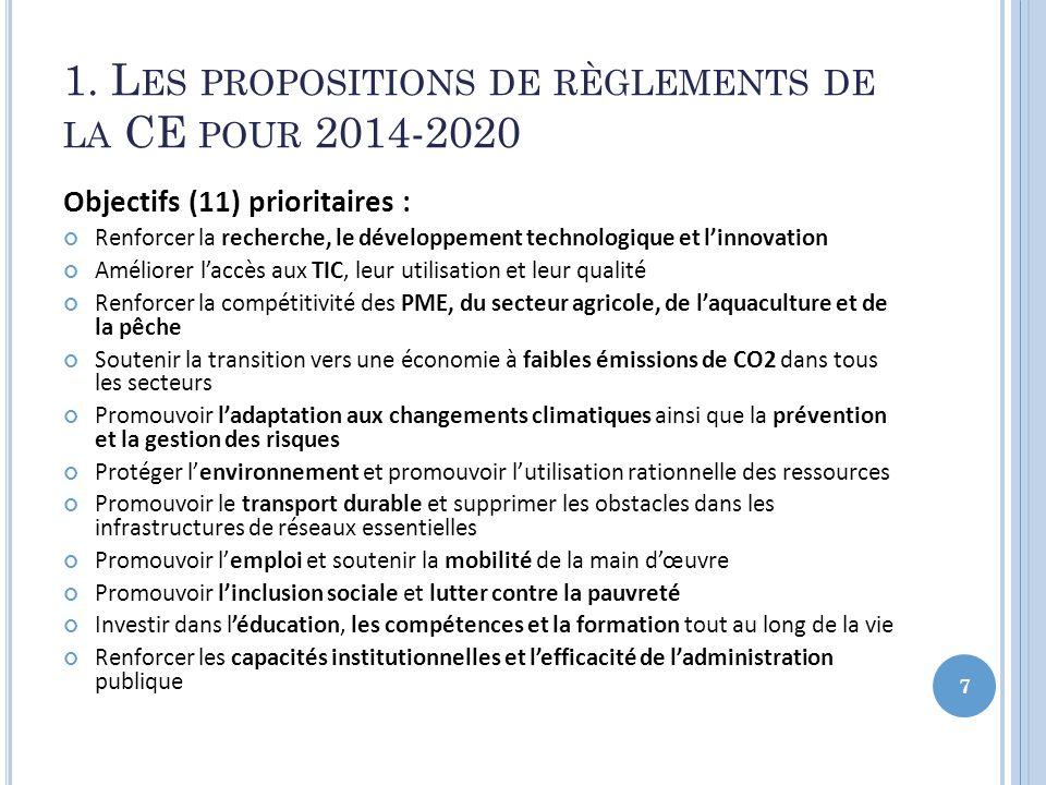 1. L ES PROPOSITIONS DE RÈGLEMENTS DE LA CE POUR 2014-2020 Objectifs (11) prioritaires : Renforcer la recherche, le développement technologique et lin