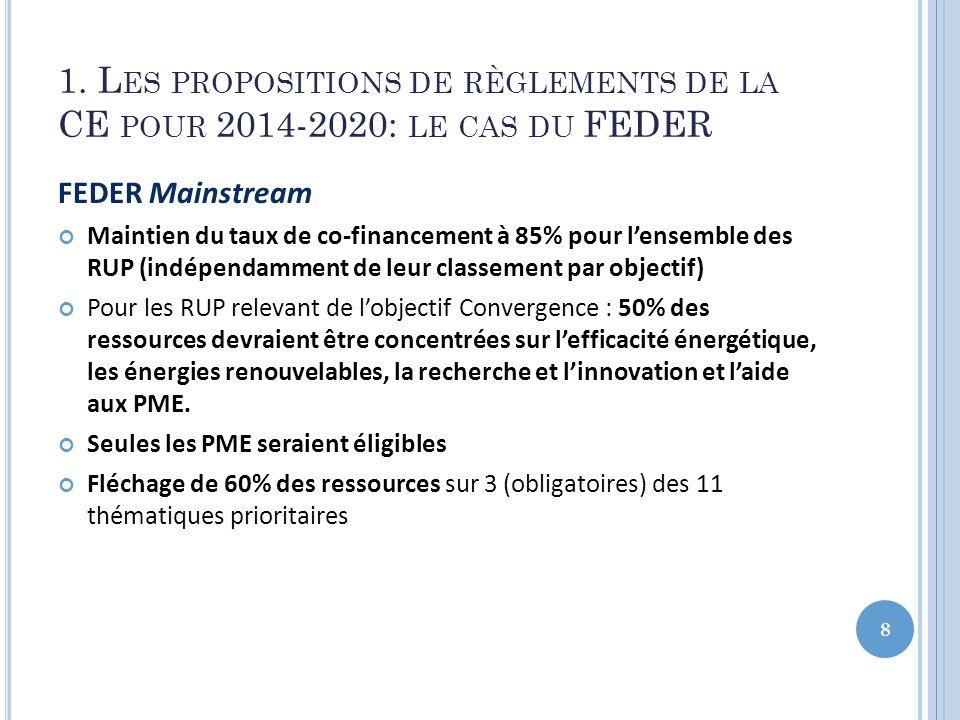 1. L ES PROPOSITIONS DE RÈGLEMENTS DE LA CE POUR 2014-2020: LE CAS DU FEDER FEDER Mainstream Maintien du taux de co-financement à 85% pour lensemble d