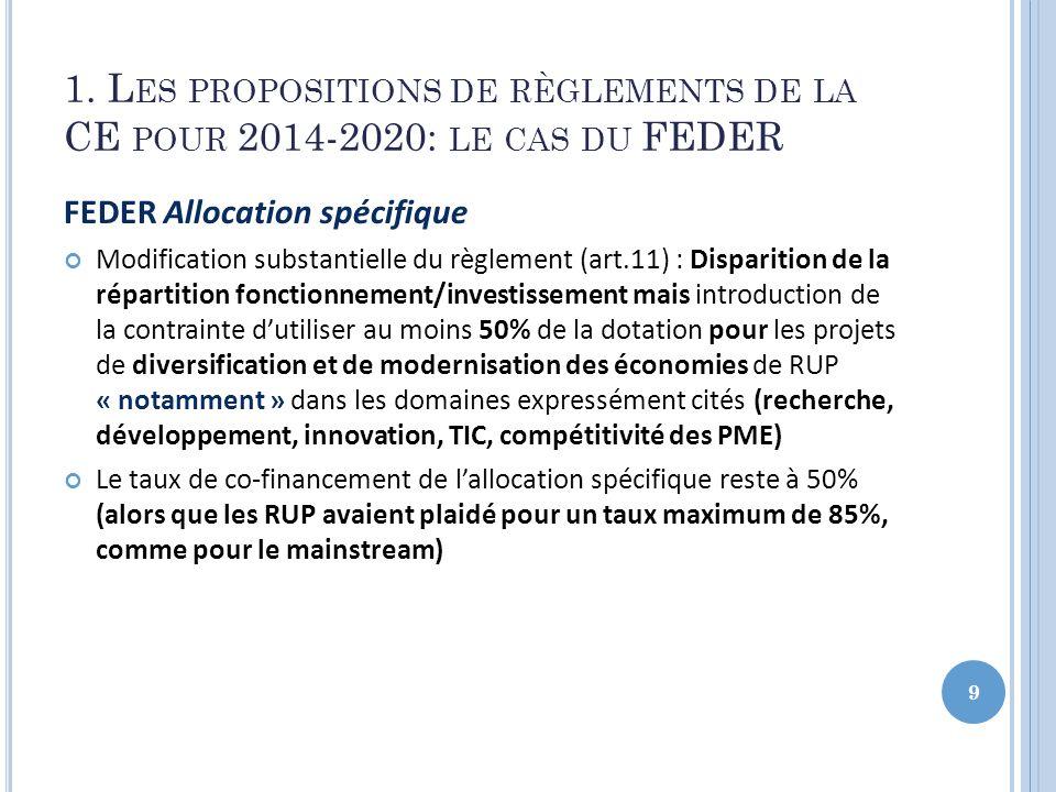 1. L ES PROPOSITIONS DE RÈGLEMENTS DE LA CE POUR 2014-2020: LE CAS DU FEDER FEDER Allocation spécifique Modification substantielle du règlement (art.1