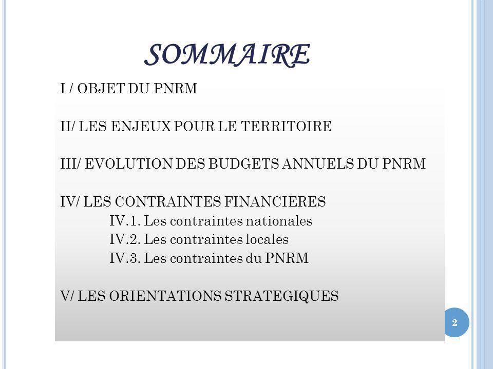 SOMMAIRE I / OBJET DU PNRM II/ LES ENJEUX POUR LE TERRITOIRE III/ EVOLUTION DES BUDGETS ANNUELS DU PNRM IV/ LES CONTRAINTES FINANCIERES IV.1.