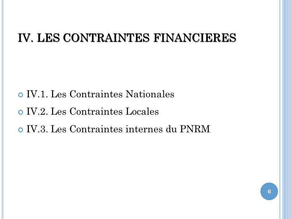 IV. LES CONTRAINTES FINANCIERES IV.1. Les Contraintes Nationales IV.2.