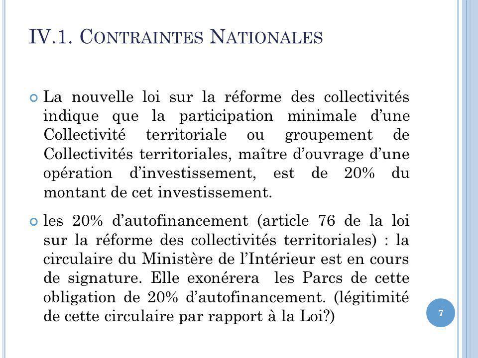 La nouvelle loi sur la réforme des collectivités indique que la participation minimale dune Collectivité territoriale ou groupement de Collectivités territoriales, maître douvrage dune opération dinvestissement, est de 20% du montant de cet investissement.