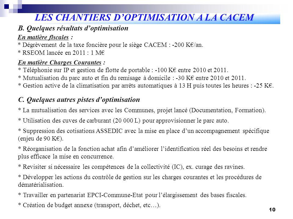 10 LES CHANTIERS DOPTIMISATION A LA CACEM B.