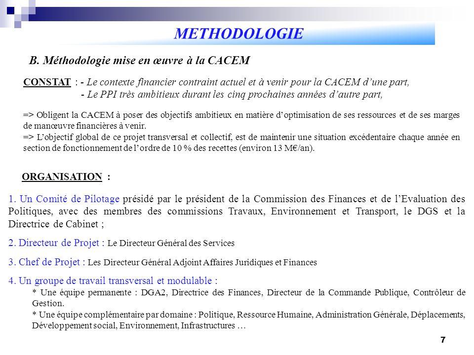 7 B. Méthodologie mise en œuvre à la CACEM METHODOLOGIE 1. Un Comité de Pilotage présidé par le président de la Commission des Finances et de lEvaluat
