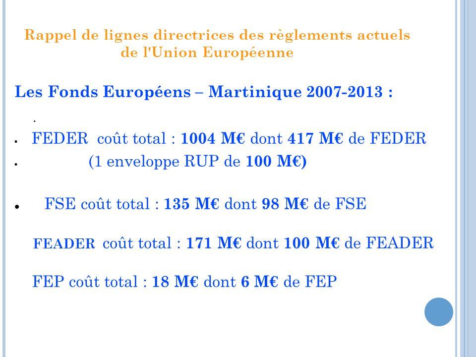 Rappel de lignes directrices des règlements actuels de l'Union Européenne. Les Fonds Européens – Martinique 2007-2013 : FEDER coût total : 1004 M dont