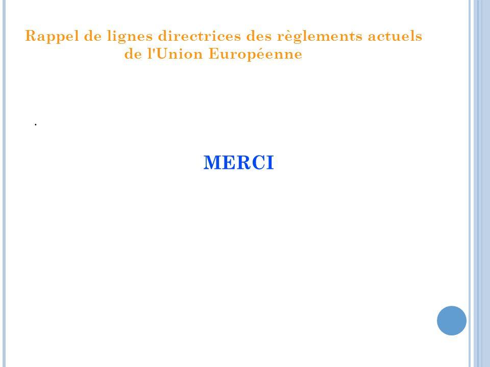 Rappel de lignes directrices des règlements actuels de l'Union Européenne. MERCI